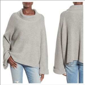 Leith Gray Shaker Wide Sleeve Oversized Sweater